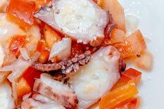 Ensalada del pulpo con el tomate, la pimienta roja, la cebolla, el aceite de oliva, el vinagre y la sal Fotografía de archivo libre de regalías