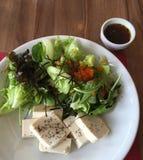 Ensalada del queso de soja con el aliño de ensaladas Foto de archivo libre de regalías