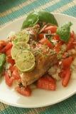 Ensalada del tomate con el pollo y el limón asado a la parilla Imagen de archivo libre de regalías