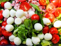 Ensalada del tomate con la mozarela Imagenes de archivo