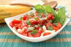 ensalada del tomate en tazón de fuente con la cebolla y la albahaca Fotos de archivo