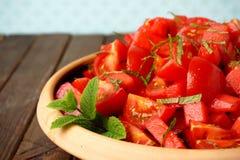 Ensalada del tomate y de la sandía Imagen de archivo libre de regalías