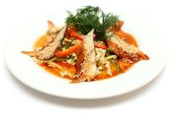 Ensalada del unagi de la anguila - alimento gastrónomo Imagen de archivo libre de regalías