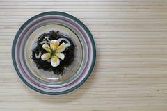 Ensalada delicioso sabrosa de la col del mar con un huevo hervido y las cebollas imagen de archivo libre de regalías