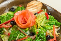 Ensalada dietética del paprika, de la lechuga, del pepino, de aceitunas y del aceite de oliva, una rebanada de pan En el medio de Imagen de archivo libre de regalías