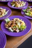 Ensalada fresca con la carne del pollo, naranjas, nueces, verdes e hierbas y aceite de oliva en placas de cerámica coloridas bril Fotografía de archivo