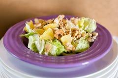 Ensalada fresca con la carne del pollo, naranjas, nueces, verdes e hierbas y aceite de oliva en placas de cerámica coloridas bril Imagenes de archivo