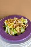 Ensalada fresca con la carne del pollo, naranjas, nueces, verdes e hierbas y aceite de oliva en placas de cerámica coloridas bril Imágenes de archivo libres de regalías