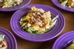 Ensalada fresca con la carne del pollo, naranjas, nueces, verdes e hierbas y aceite de oliva en placas de cerámica coloridas bril Fotos de archivo libres de regalías