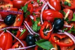 Ensalada fresca con los tomates, las aceitunas, las cebollas y los verdes Imagen de archivo