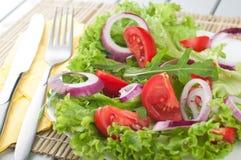 Ensalada fresca con los tomates y la cebolla Imagenes de archivo