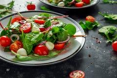 Ensalada fresca de Cherry Tomato, de la mozzarella con la mezcla verde de la lechuga y la cebolla roja servido en la placa Alimen Foto de archivo libre de regalías