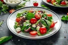 Ensalada fresca de Cherry Tomato, de la mozzarella con la mezcla verde de la lechuga y la cebolla roja servido en la placa Alimen fotos de archivo libres de regalías
