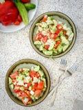 Ensalada fresca de tomates y de pepinos Foto de archivo