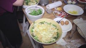 Ensalada fresca del arugula con el queso, comida sana, dieta, resbalador tirado almacen de metraje de vídeo