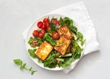 Ensalada fresca del arugula, de tomates de cereza, de los pepinos y del queso asado Fotos de archivo