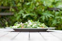 Ensalada fresca deliciosa afuera Foto de archivo
