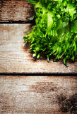 Ensalada fresca sobre fondo de madera Comida de la dieta y la más lifest sano Foto de archivo libre de regalías