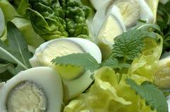 Ensalada fresca verde con los huevos Imagen de archivo