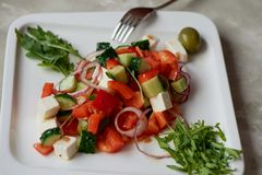 Ensalada griega Fresco, con aceite de oliva y la cebolla roja Alimento de la dieta sana imágenes de archivo libres de regalías
