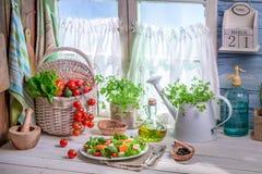 Ensalada hecha en casa con los salmones y las verduras Imagen de archivo libre de regalías