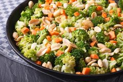 Ensalada hermosa del bróculi con el cacahuete en una macro de la placa horizo Foto de archivo libre de regalías
