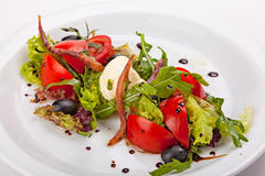 Ensalada italiana con las verduras, las hierbas, la carne ahumada y el ricotta Fotos de archivo