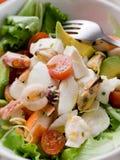 Ensalada mezclada de los mariscos con la mozarela Foto de archivo libre de regalías