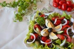 Ensalada mezclada del verano de las verduras frescas con los huevos Fotos de archivo libres de regalías