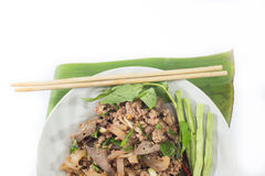 Ensalada picadita picante del cerdo, puré picadito del cerdo con la comida picante, tailandesa Foto de archivo