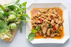 Ensalada picante del cerdo de la cocina tailandesa, Moo Nam Tok Imagen de archivo libre de regalías