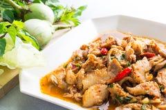 Ensalada picante del cerdo de la cocina tailandesa, Moo Nam Tok Fotografía de archivo