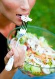 Ensalada que come en jardín imagen de archivo