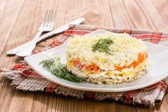 Ensalada rusa tradicional con las verduras y las sardinas - mimosa Fotos de archivo