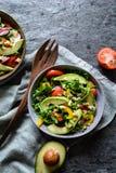 Ensalada sana del arugula con el aguacate, el rábano, el paprika, el tomate y el queso del Roquefort Imagen de archivo libre de regalías