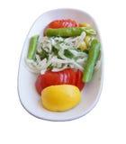 Ensalada turca de cebollas, de tomates y de pimientas verdes Imagen de archivo libre de regalías
