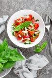 Ensalada vegetal con el tomate, la albahaca y la cebolla frescos Foto de archivo libre de regalías