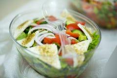 Ensalada vegetal con queso y condimentos Fotografía de archivo libre de regalías