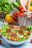 Ensalada vegetal malsana con los preservativos Imagen de archivo libre de regalías
