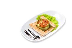 Ensalada vegetariana con la tostada Foto de archivo libre de regalías