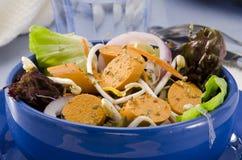 Ensalada vegetariana de la salchicha del queso de soja Fotos de archivo libres de regalías