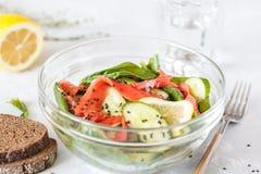 Ensalada verde con espinaca, verduras y salmones salados imagen de archivo