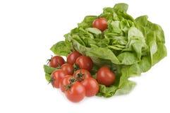 Ensalada verde del lettuse y alimento fresco del tomate Imagen de archivo
