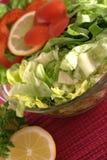 Ensalada verde fresca con cierre del limón y de la pimienta roja Fotografía de archivo libre de regalías