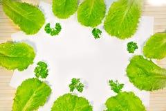 Ensalada verde fresca de la lechuga con perejil en fondo de madera Foto de archivo