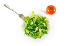 Ensalada verde mezclada en la placa y el tomate fotografía de archivo