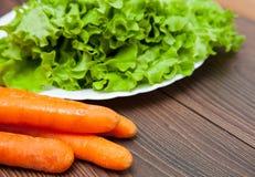 Ensalada y zanahoria frescas Fotografía de archivo