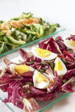 Ensaladas, salmones, verduras orgánicas, huevos duros Foto de archivo