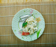 Ensaladilla Rusa. Potato Salad Recipe - Ensaladilla Rusa with anchovies . closeup of a plate Stock Photo