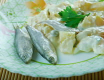 Ensaladilla Rusa. Potato Salad Recipe - Ensaladilla Rusa with anchovies . closeup of a plate Royalty Free Stock Photo
